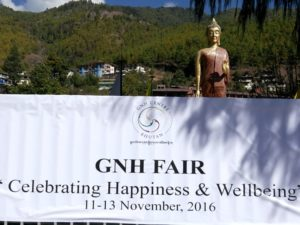 A flag indicating the Gross National Happiness Fair which took place in Thimphu in November 2016