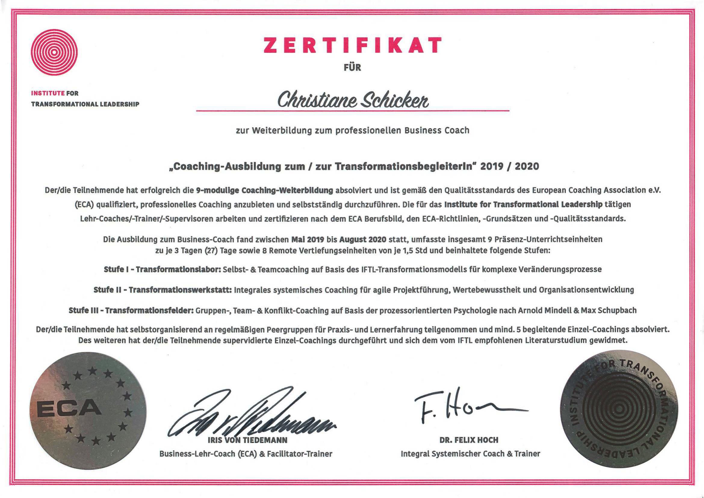 institute transformational leadership zertifikat