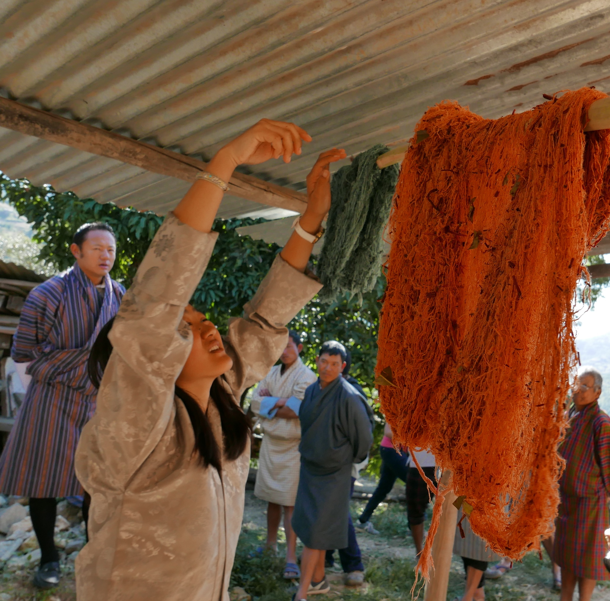 Organically dyed raw silk bales are hung up to dry - demonstration by a grassroots cooperative in Rhadi, Eastern Bhutan