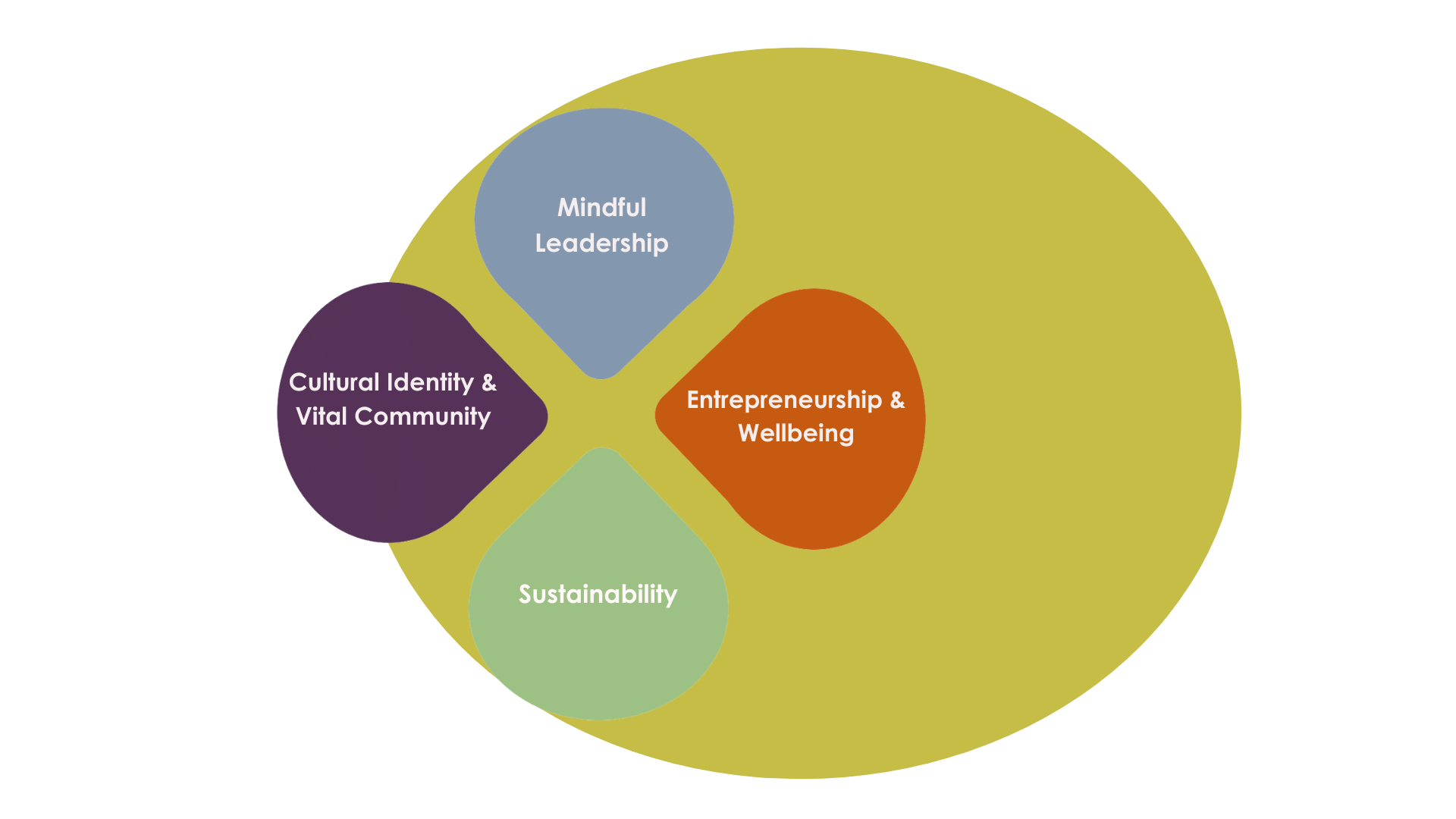 4 central values determin my values compass 1. Mindful Leadership 2. Entrepreneurship & Wellbeing 3. Sustainability 4. Vital Community